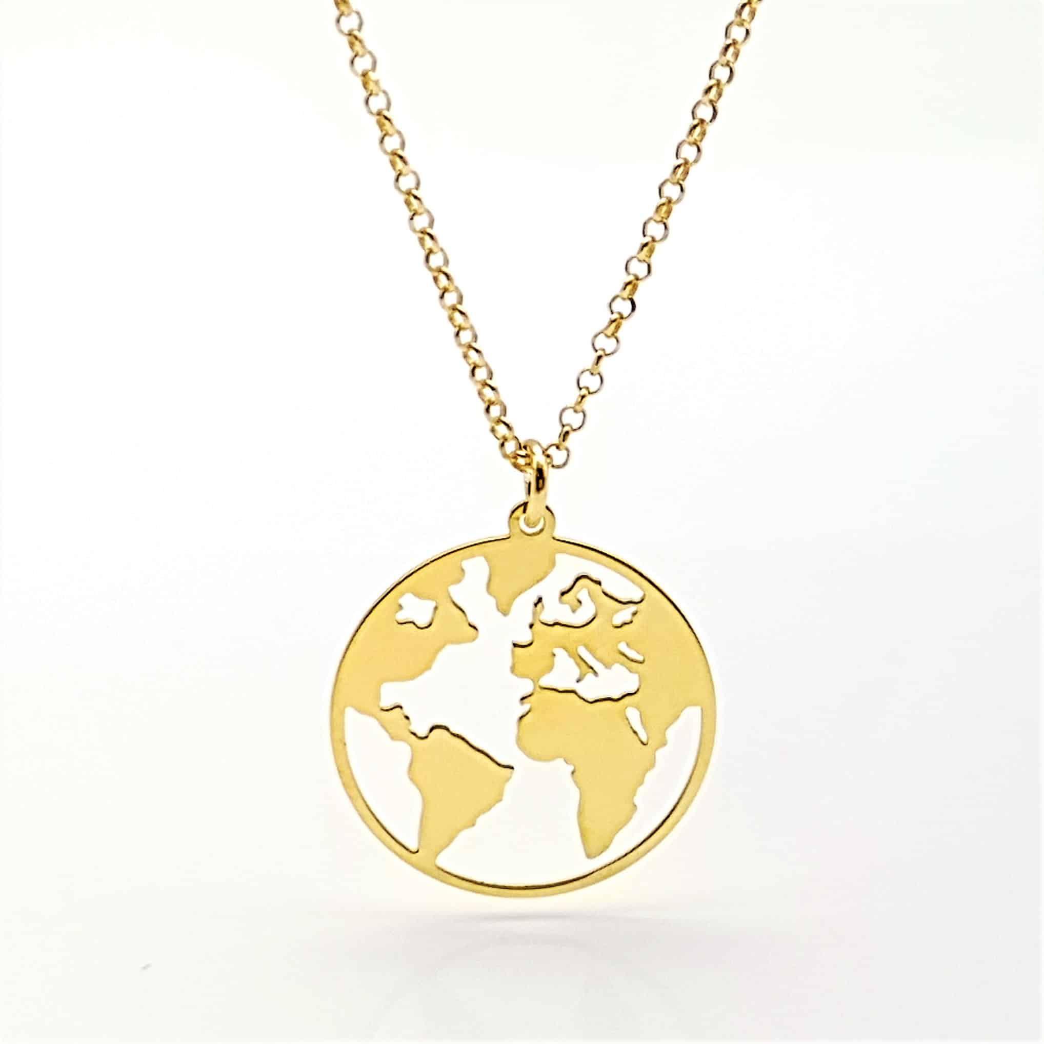 Colgante Mundo plata chapado en oro (3)