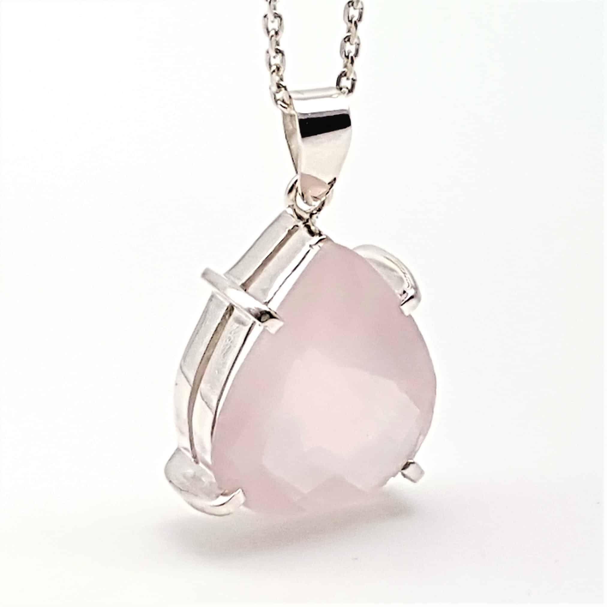 Colgante cuarzo rosa en plata (8)