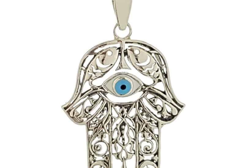 Mano de fátima con ojo turco en plata 925