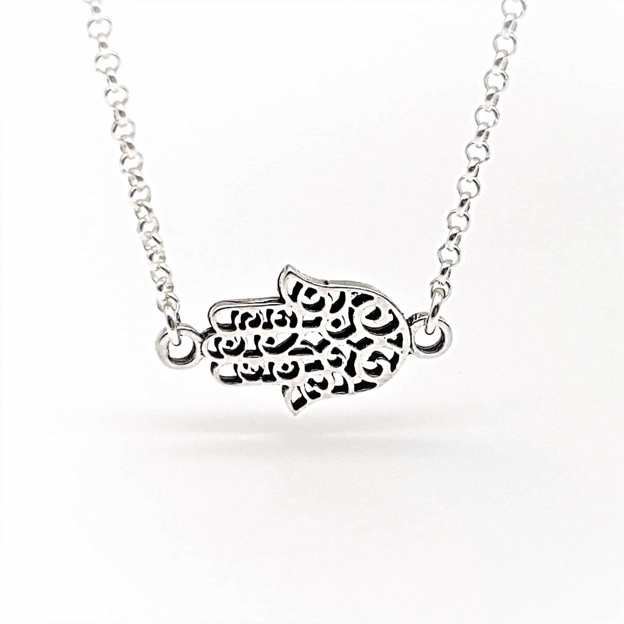 Collar gargantilla Mano de Fátima en plata (2)