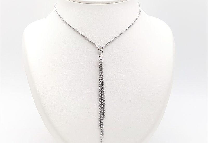Collar gargantilla flecos en plata rodiada