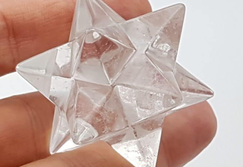 Estrella doble mercaba de cuarzo cristal de roca