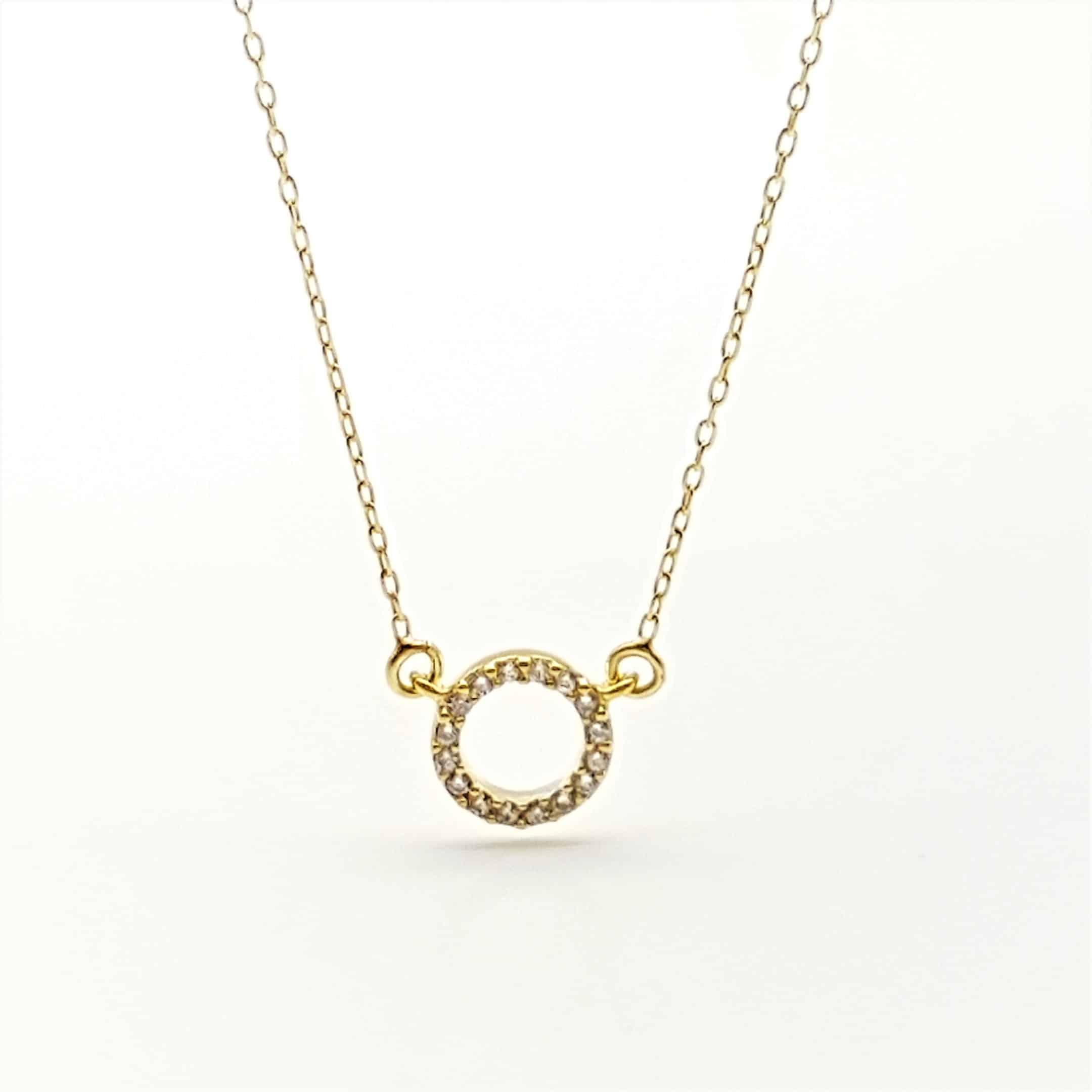 Gargantilla mini aro plata chapada en oro y circonitas (5)