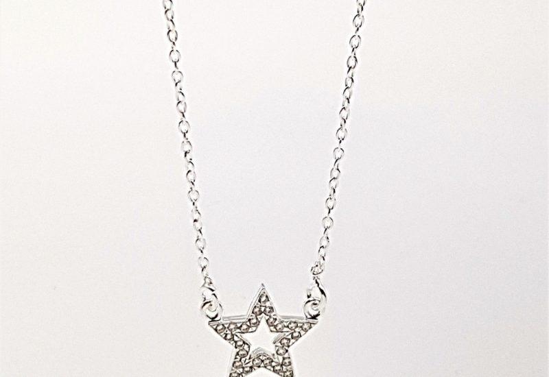 Gargantilla mini estrella con circonitas en plata