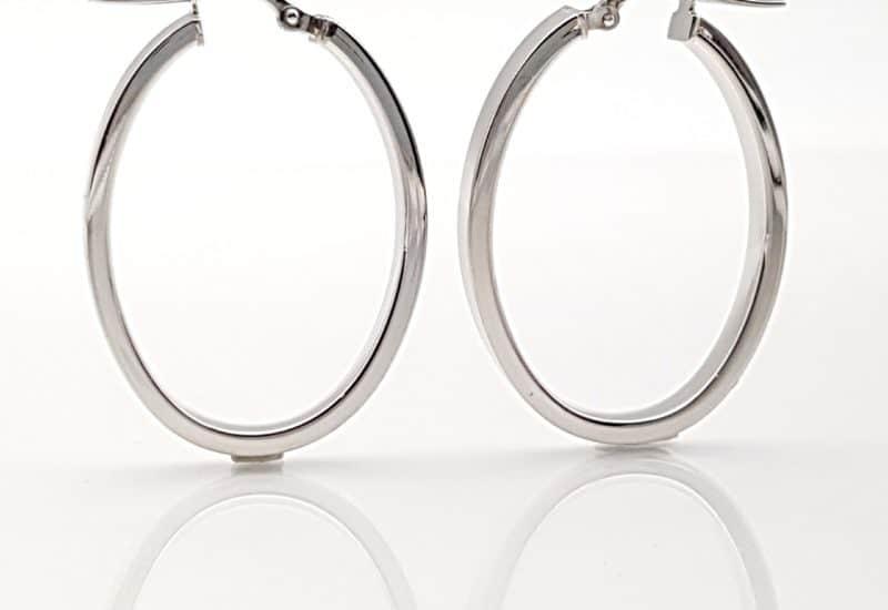 Argollas con forma oval fabricadas plata de ley 925 mls
