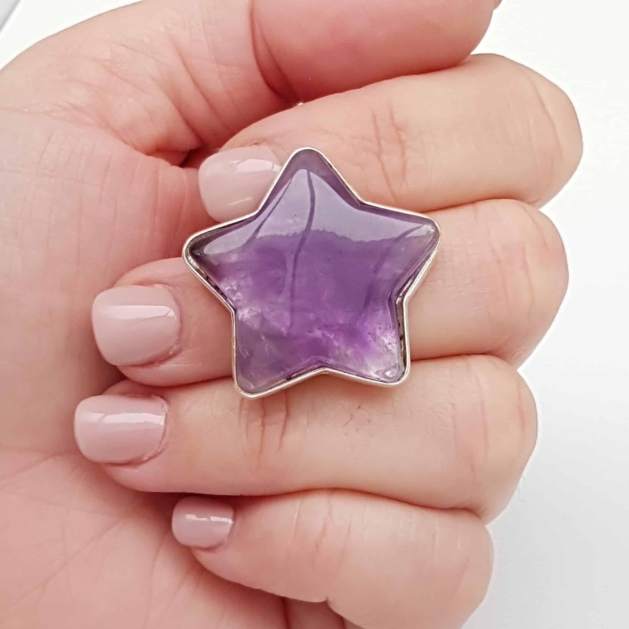 anillo estrella de amatista
