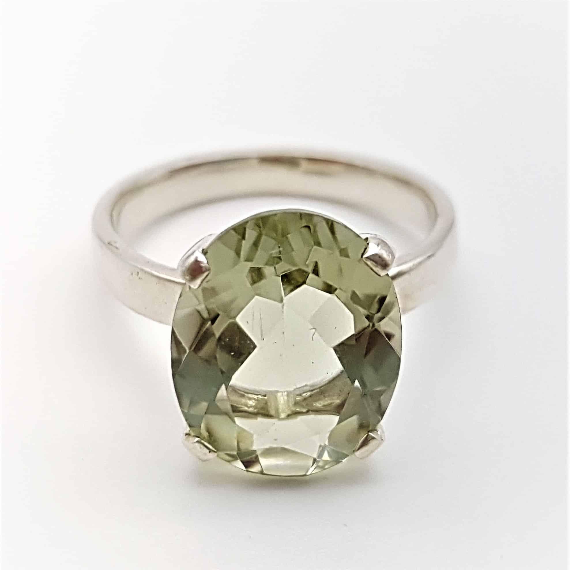 Anillo amatista verde forma oval facetada (4)