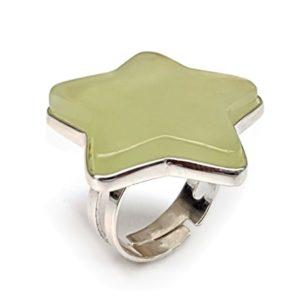Anillo estrella de jade adaptable de la talla 15 a la talla 18