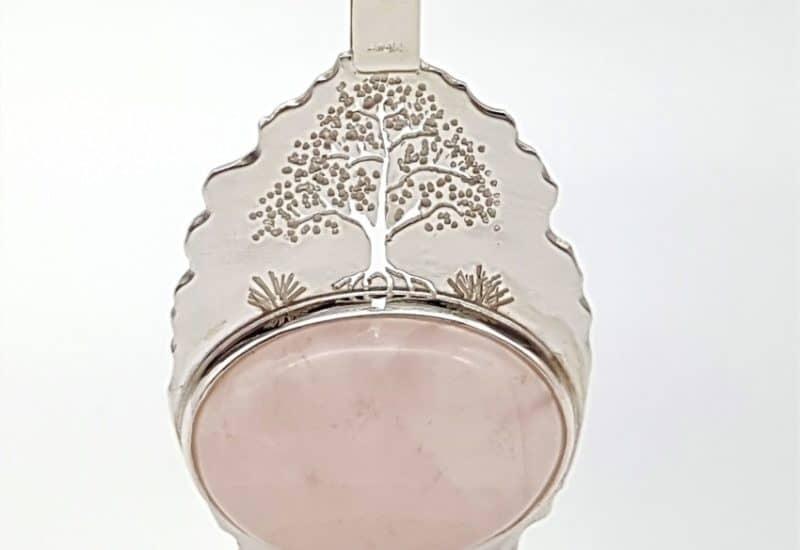 Colgante Cuarzo Rosa fabricado en plata de ley – árbol de la vida
