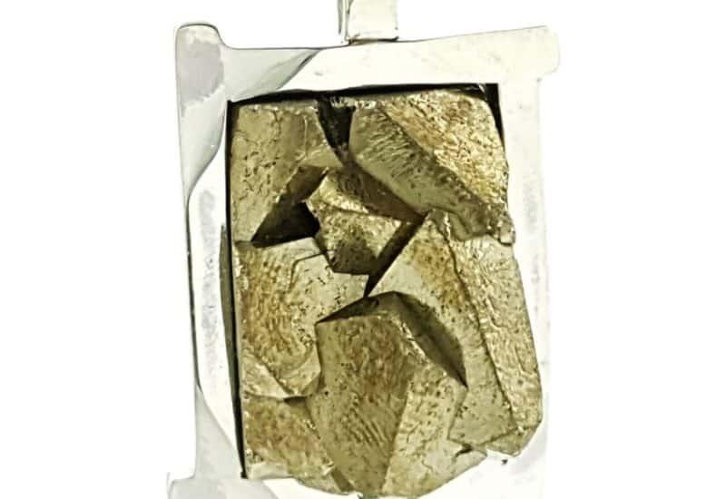 Colgante cristales de pirita en plata
