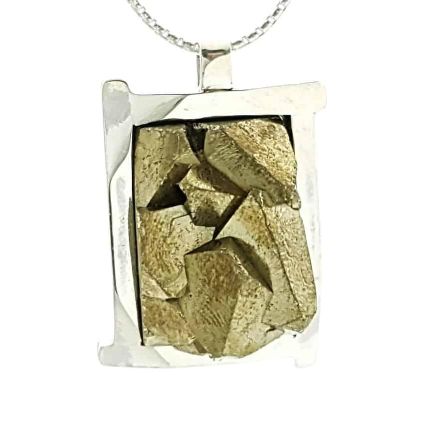 Colgante pirita cristalizada de Perú en plata 925 (1)