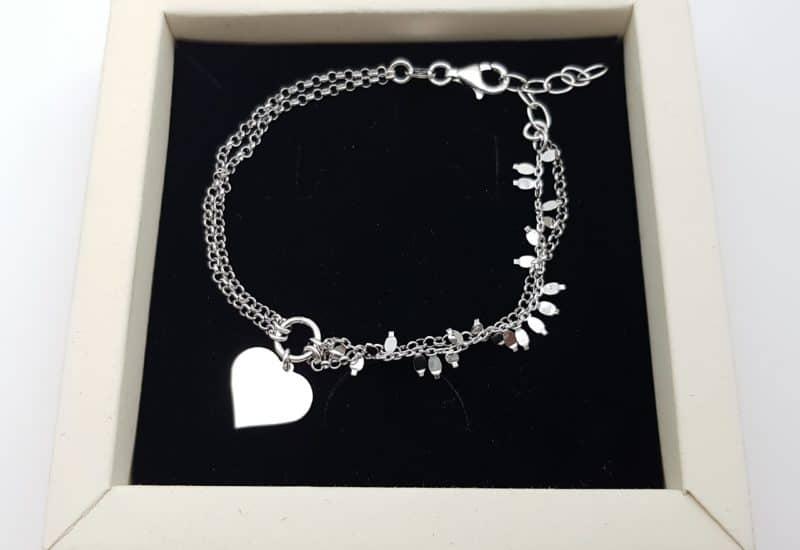 Pulsera doble cadena y corazón fabricada en plata de ley 925 mls – baño de rodio