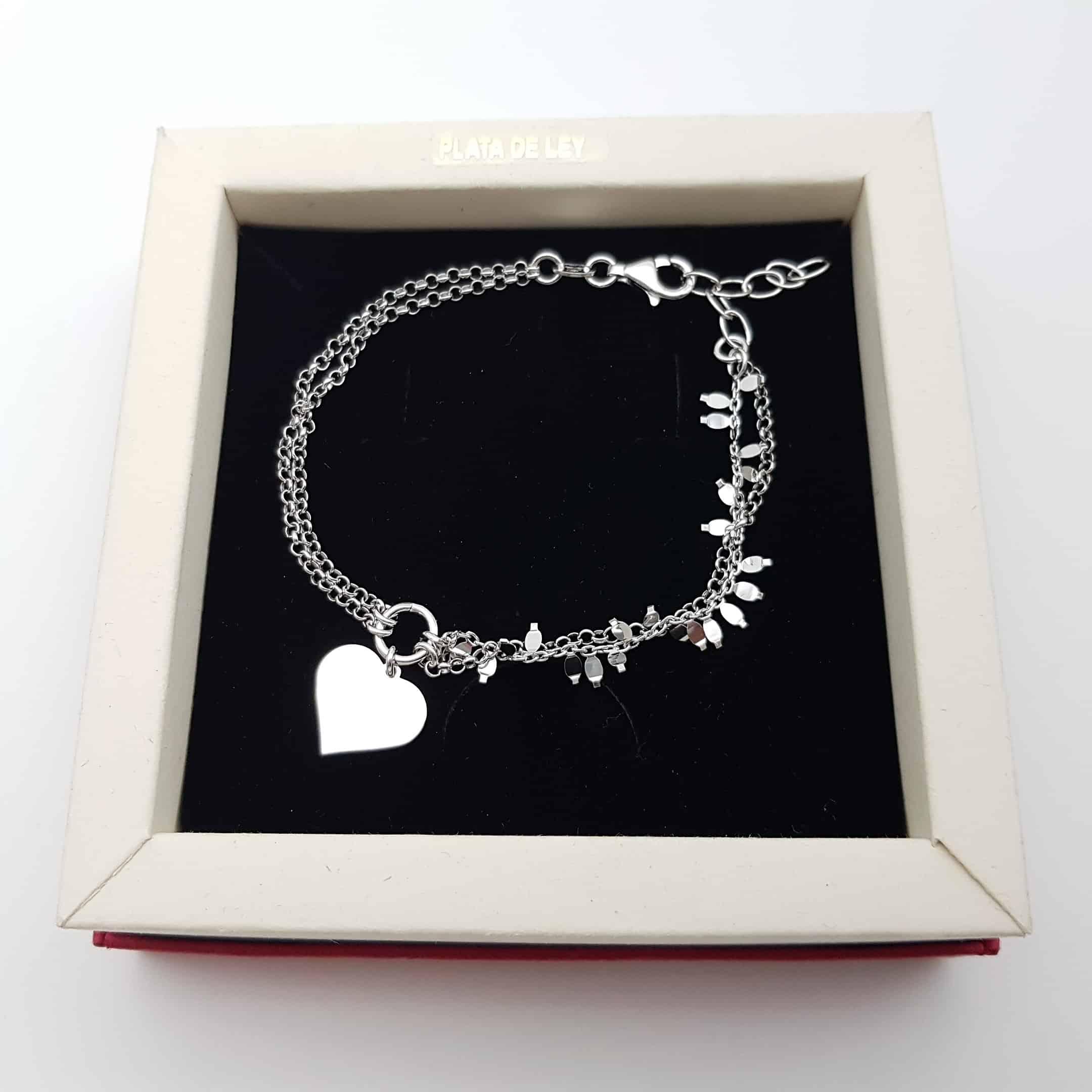 Pulsera doble cadena y corazón en plata (3)