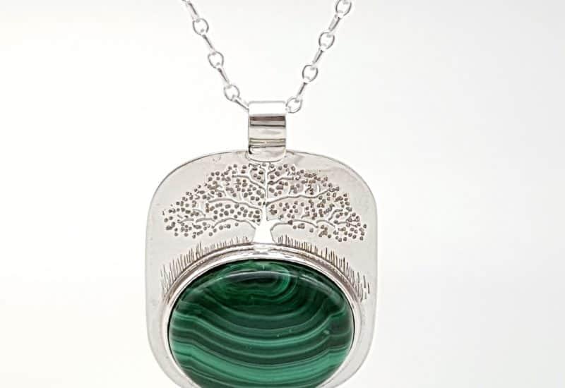Colgante Malaquita fabricado en plata – árbol de la vida