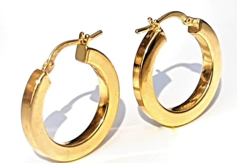 Argollas lisas fabricadas en Plata de ley 925 mls chapadas en oro