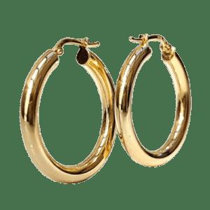 Argollas medianas fabricadas en Plata de ley 925 mls chapadas en oro