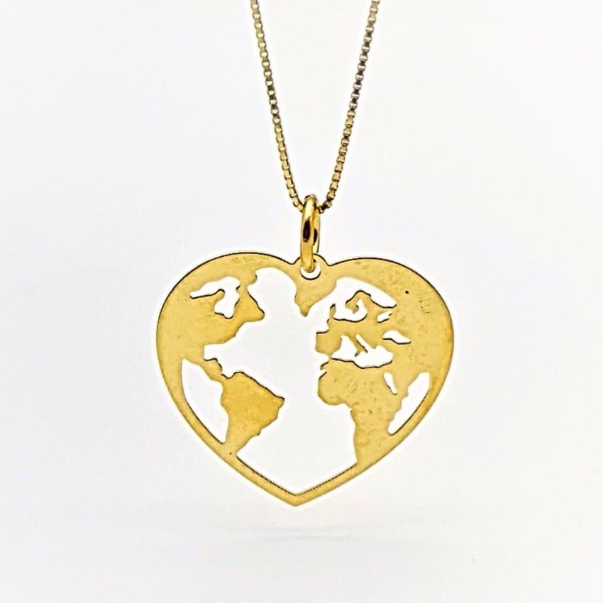 Colgante Mundo corazón de plata chapado en oro (2)