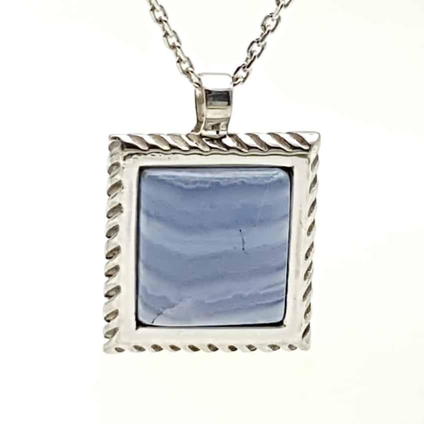 Colgante cabujón cuadrado de calcedonia azul (6)