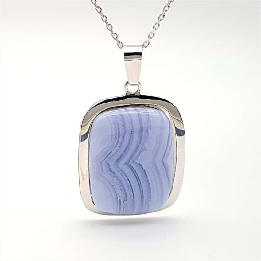 Colgante cabujón rectangular calcedonia azul (3)