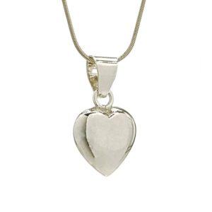 Colgante corazón liso de Plata de Ley 925 mls.