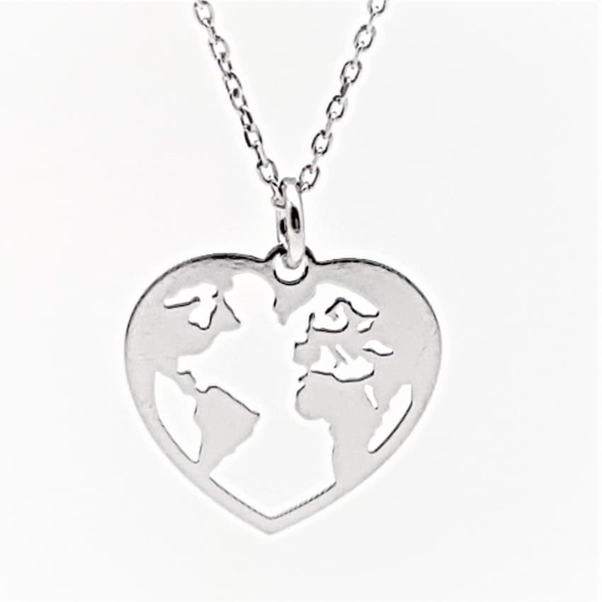 Colgante corazón mapa mundi plata (6)