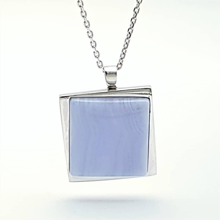Colgante de plata 925 y calcedonia azul (3)