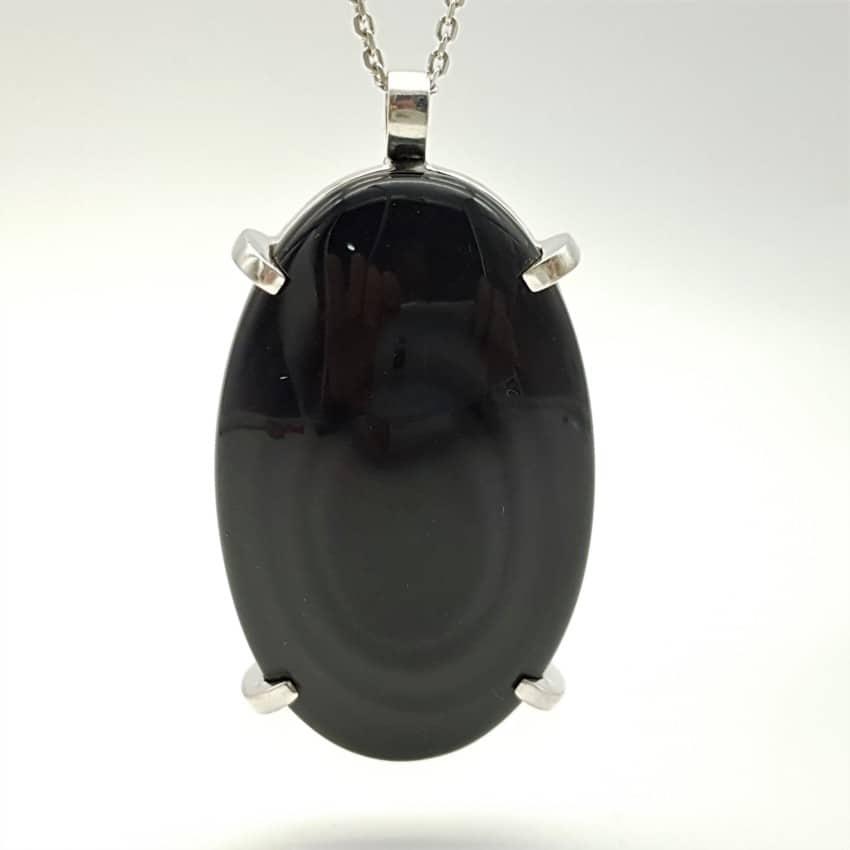 Colgante de plata y obsidiana (2)