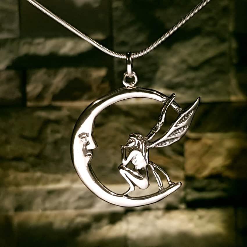 Colgante hada y luna en plata
