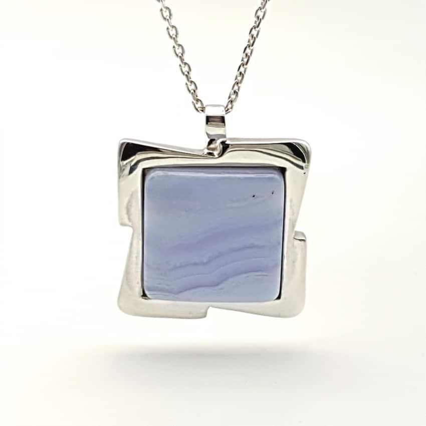Colgante plata y calcedonia azul (2)