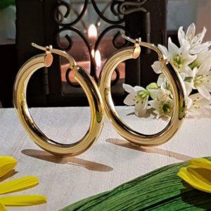 Pendientes Aros de plata 925 chapados en oro