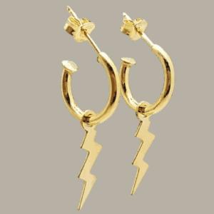 Pendientes aros con rayo fabricados en plata de ley chapado en oro