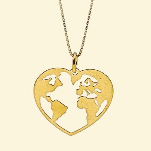 Colgante mundo en corazón y gargantilla fabricados en plata – chapado en oro