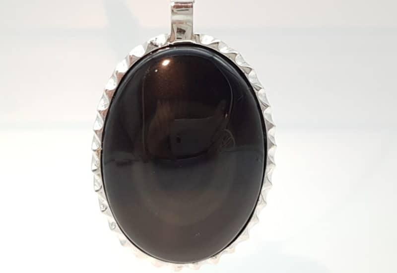 Colgante de Obsidiana Arcoíris fabricado en plata de ley