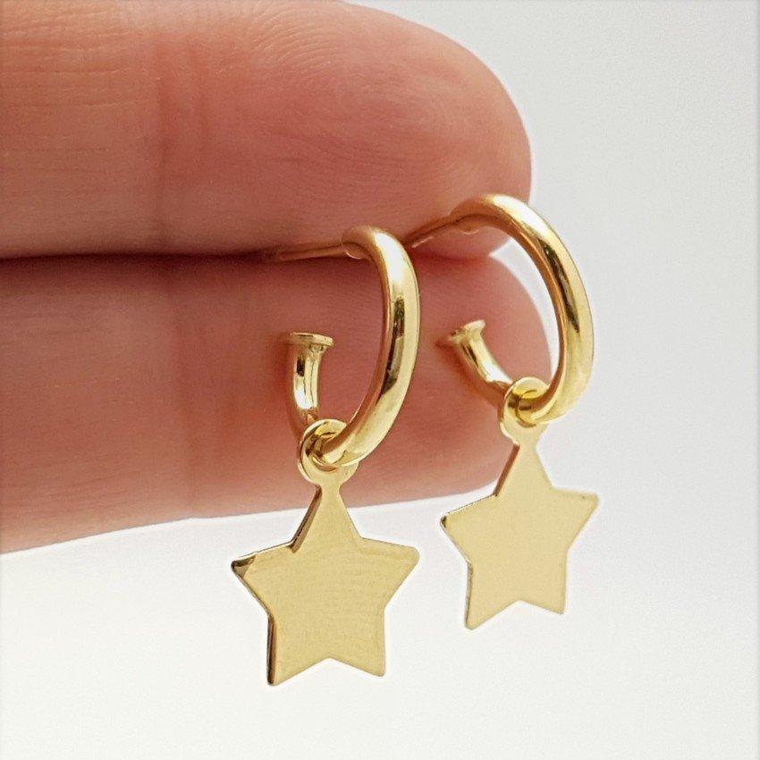 pendientes aros estrella plata chapado oro (3)