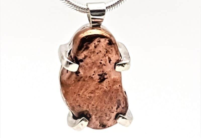 Colgante cobre nativo fabricado en plata de ley 925 mls