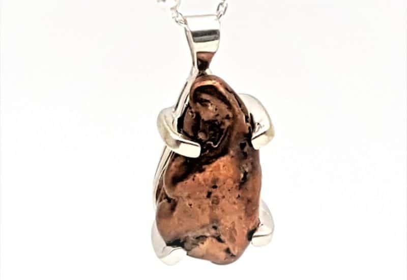 Colgante cobre natural fabricado en plata de ley 925 mls