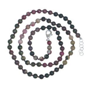 Collar Turmalina y cierre de plata - bola 5 mm