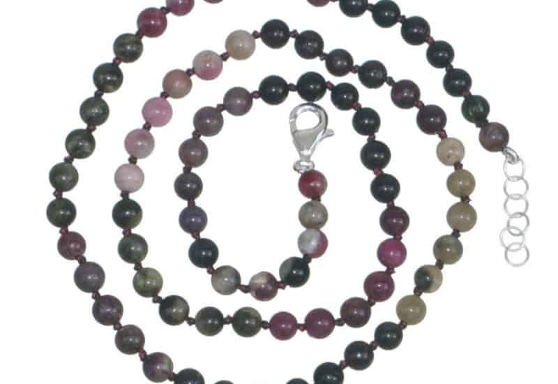 Collar Turmalina y cierre de plata – bola 5 mm