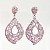 fdf8d6598860 Pendientes para boda color rosa. Joya realizada de plata con circonitas de  color rosa y blancas engastadas. Espectacular diseño ideal para deslumbrar  en una ...