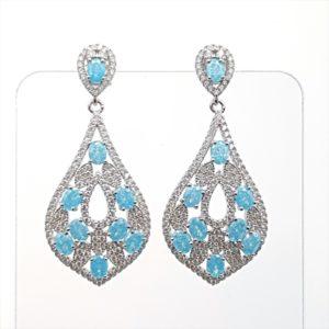 Pendientes plata de circonitas azules ideal para bodas