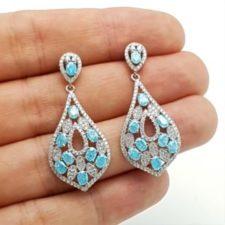 Pendientes circonita azul y plata especial bodas (6)