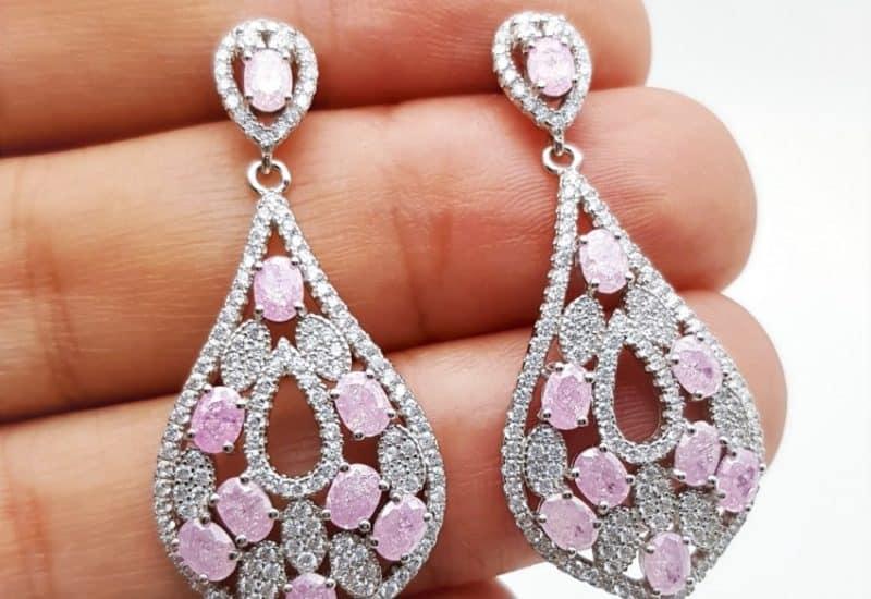 Pendientes de boda color rosa