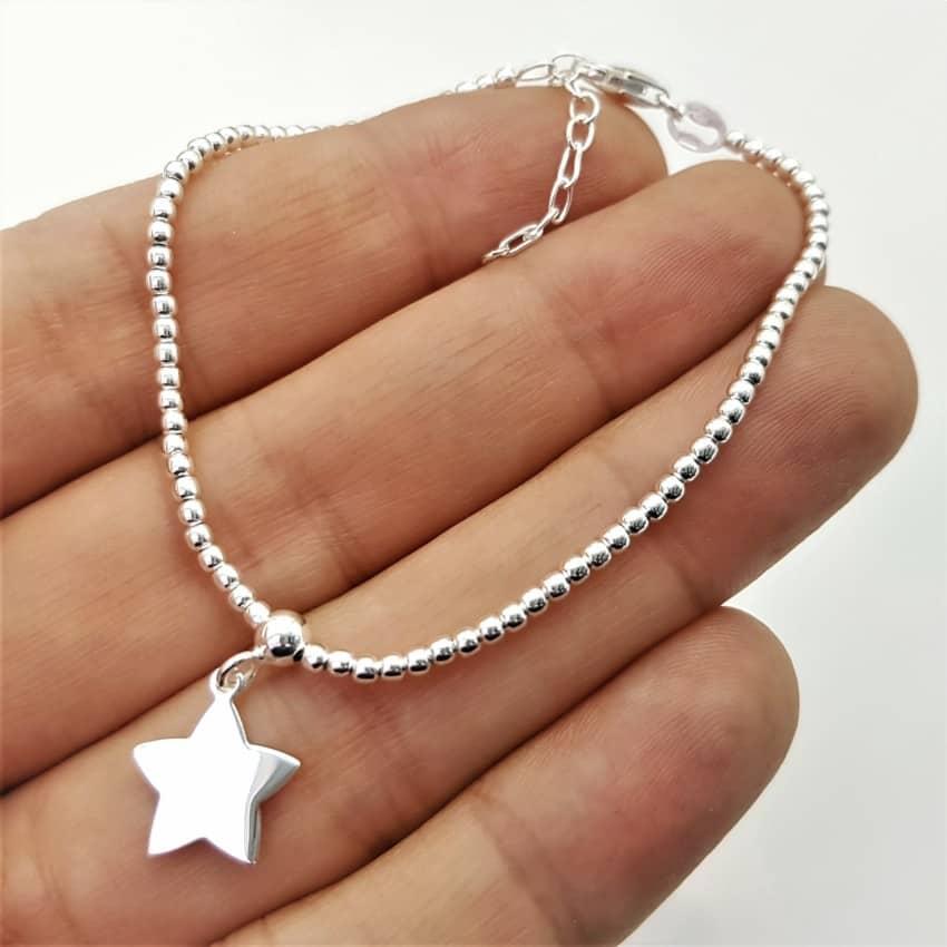 Pulsera de bolitas y estrella de plata (3)