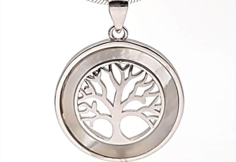 Colgante del árbol de la vida en plata de ley y nácar