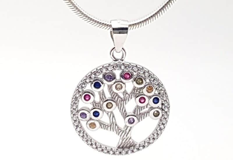 Colgante árbol de la vida en plata de ley con circonitas