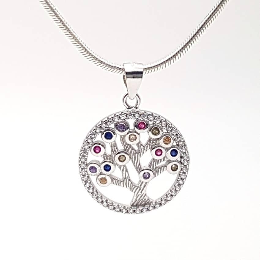 colgante árbol de la vida en plata y con circonitas de colores (7)