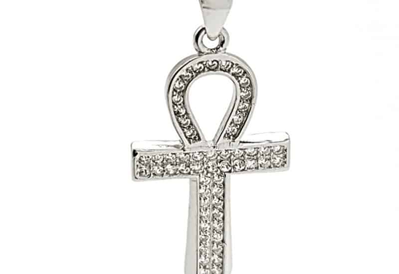 Colgante cruz de la vida con circonitas