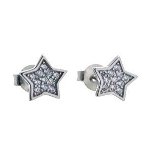 Mini pendientes estrella con circonitas de plata rodiada.