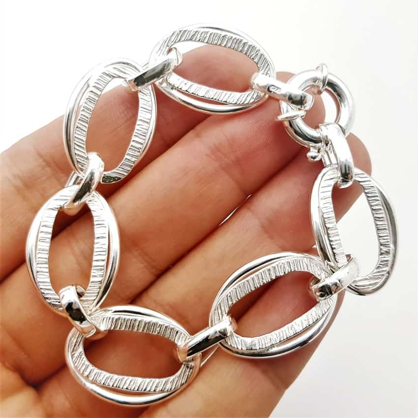 Pulsera de eslabones ovalados de plata (5)