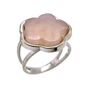 Anillo flor de cuarzo rosa en plata